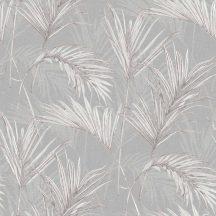Grandeco MYRIAD MY2006  Natur trópusi pálmalevelek szürke fehér ezüst fémes hatás tapéta