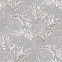 Grandeco Myriad MY2006 Natur trópusi pálmalavelek fehér szürke ezüst fémes hatás tapéta