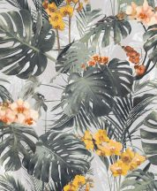 MYRIAD MY2101 Natur botanikus trópusi levelek virágok szürke zöld sárga korall tapéta