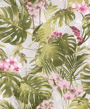 MYRIAD MY2102  Natur botanikus trópusi levelek virágok fehér zöld rózsaszín lila tapéta