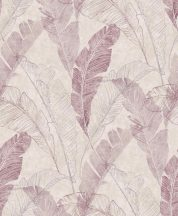 Grandeco MYRIAD MY2201 Natur botanikus banánlevelek szürke lila árnyalatok tapéta
