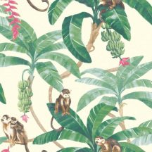 Grandeco Myriad MY2401 Natur trópisu dzsungel majmok fehér zöld szines tapéta