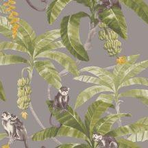 Grandeco MYRIAD MY2402 Natur trópusi dzsungel majmok szürke zöld szines tapéta