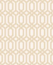 Etno ázsiai geometrikus összefonódó hatszögek fehér arany fémes hatás tapéta