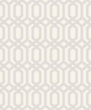 MY3303 Etno ázsiai geometrikus összefonódó hatszögek fehér ezüst fémes hatás tapéta