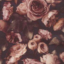 Virágos nagyformátumú rózsák modern struktúra burgundi/mély lila rózsaszín barna krém tapéta