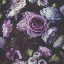 Virágos nagyformátumú rózsák modern struktúra fekete lila kék szürke zöld krém tapéta