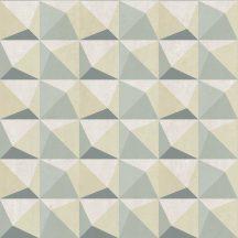 Decoprint Urban Concrete UC21331  Geometrikus három és négyszögek krém bézs zöld szürkészöld sötétzöld tapéta